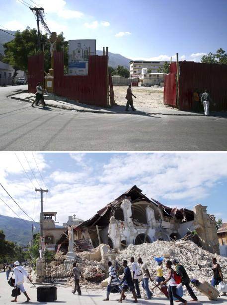 L'église du Sacré Coeur en 2014 (en haut) et en 2010. ()