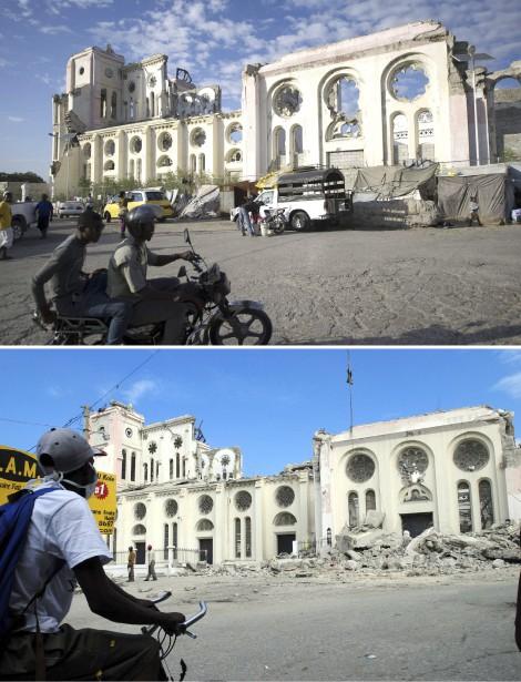 La cathédrale de Port-au-Prince en 2010 (en bas) et en 2014. (Agence France-Presse)