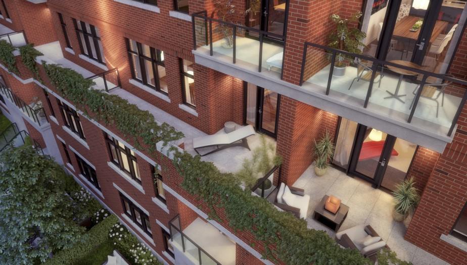 Pour que l'édifice ne soit pas trop imposant pour les piétons, sa hauteur au niveau de la rue s'apparentera à celle des duplex avoisinants. Les quatres derniers étages étant en retrait, les copropriétaires au troisième étage bénéficieront d'une spacieuse terrasse. (Illustration fournie par TLA Architectes)