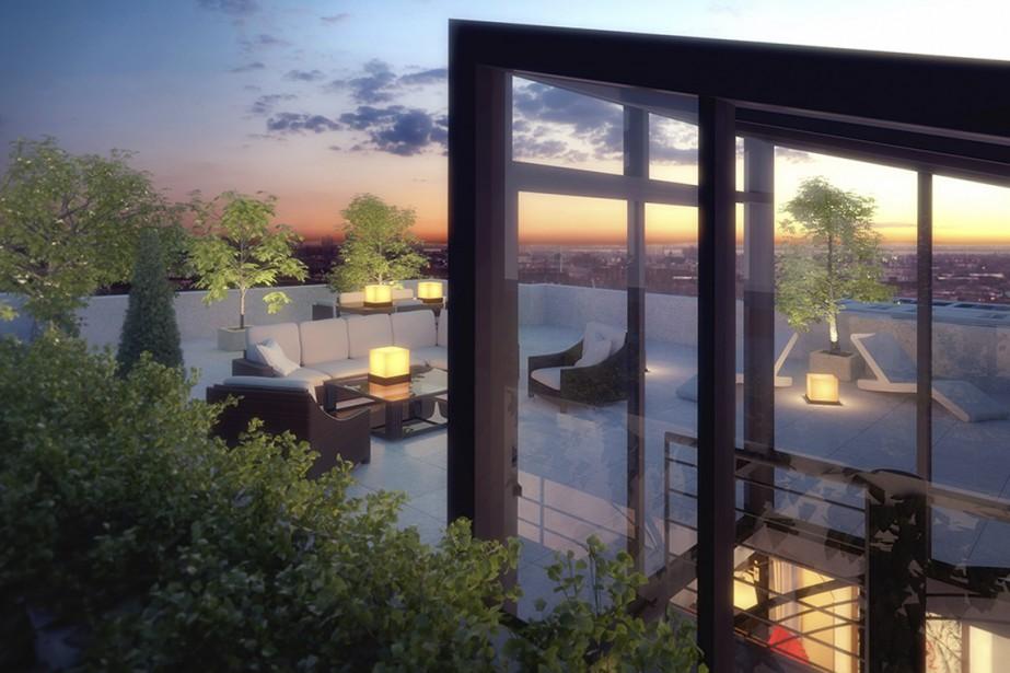 Au sixième étage, les appartements-terrasses seront dotés d'un escalier menant à une terrasse privée sur le toit. (Illustration fournie par TLA Architectes)