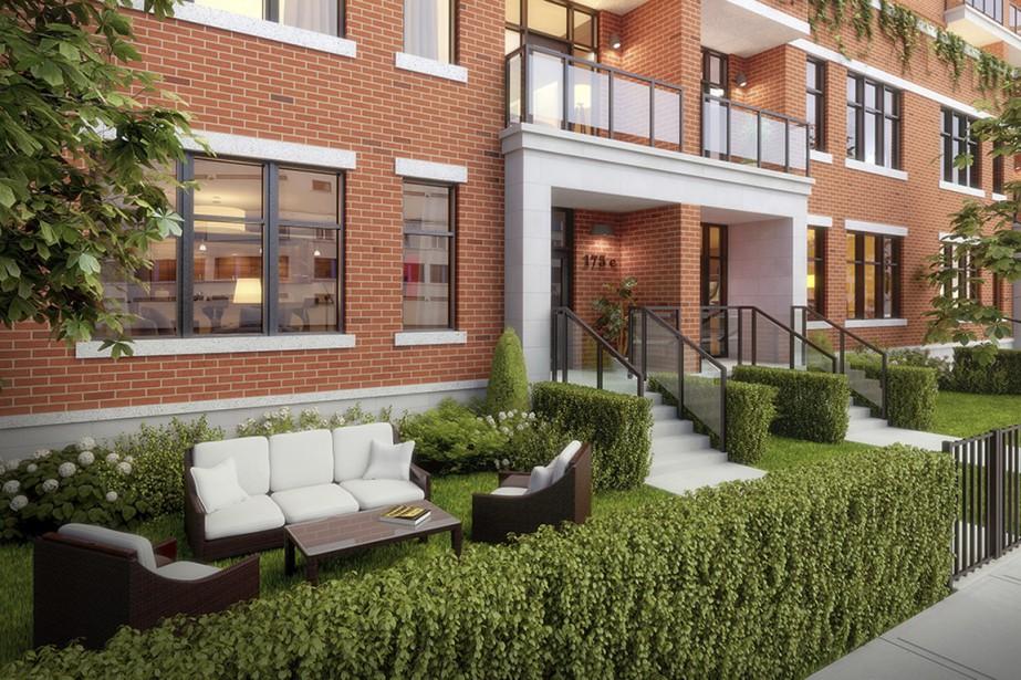 Au bas de l'immeuble, des appartements répartis sur un ou deux niveaux auront leur propre entrée au rez-de-chaussée. (Illustration fournie par TLA Architectes)