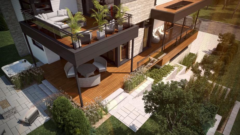 La chambre principale s'ouvre sur une terrasse qui en recouvre une autre à l'étage. (Graph Synergie)
