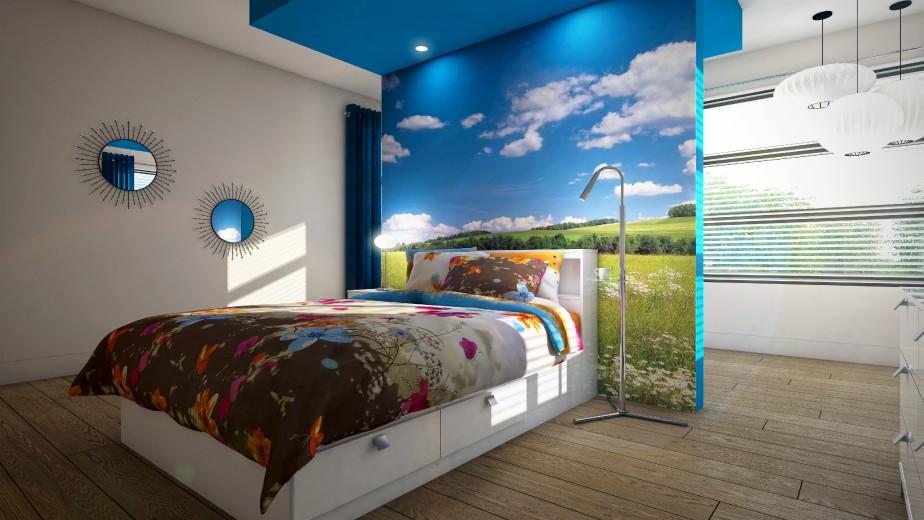 Au dernier niveau, la couleur fuse en ciel azuré et gros imprimé fleuri dans la chambre «d'ado». Derrière le lit, le panneau cache une «pièce de créativité». (Graph Synergie)