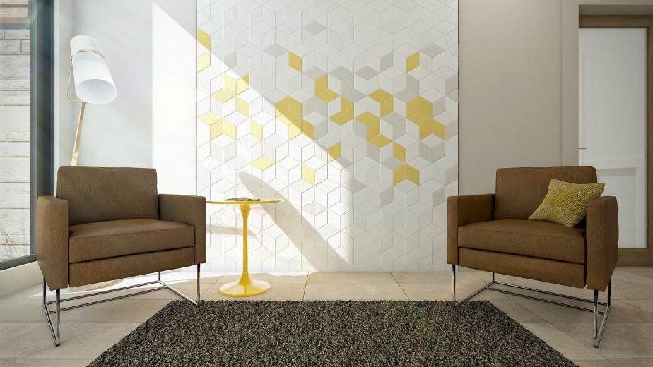 Dans cette maison contemporaine, les clins d'oeil géométriques sont savamment dosés. Losanges et hexagones de Céramique Décor forment de jolies mosaïques ici et là dans des teintes de blanc, de grège et de jaune. (Graph Synergie)