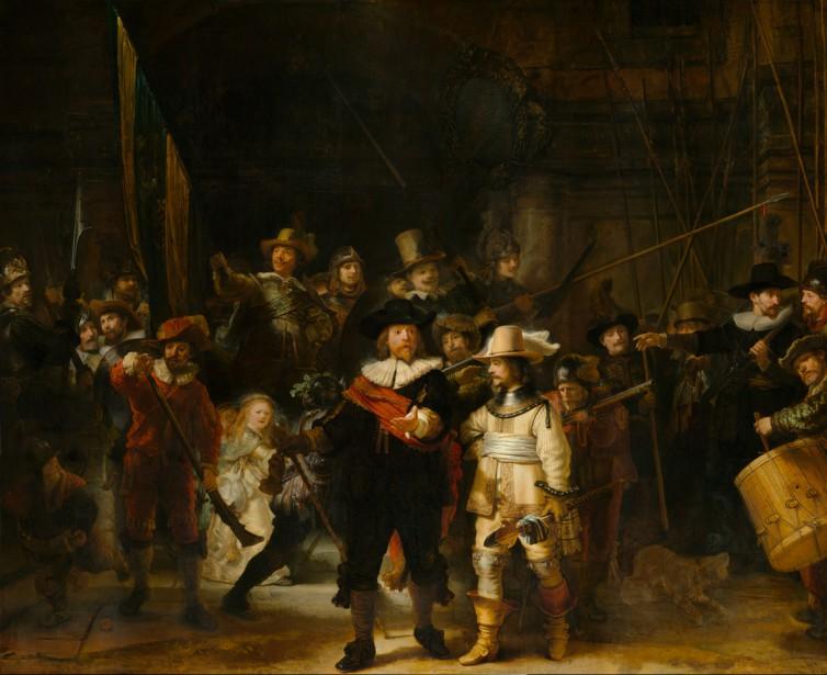 Ce grand tableau (3,79m sur 4,53m) de Rembrandt, représente, dans un arrangement relativement chaotique, une patrouille d'arquebusiers de la ville d'Amsterdam un jour de 1642. La toile est si sombre qu'elle a été surnommée <em>La ronde de nuit</em>. (PHOTO FOURNIE PAR LE MUSÉE)