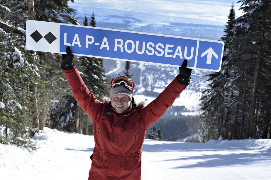 Pierre-Alexandre Rousseau fait maintenant partie des immortels du Mont-Sainte-Anne. La station de ski de Beaupré a nommé sa nouvelle piste en l'honneur du champion du monde des bosses en simple de 2007. «Même après trois ans à la retraite, ils ne m'ont pas oublié», a affirmé un Rousseau ému, le 22 janvier, lors de l'inauguration officielle de la 71e piste du MSA. | 23 janvier 2015