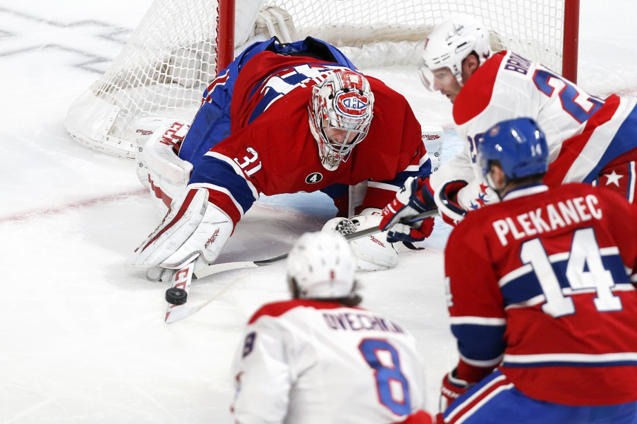 Carey Price bloque un tir du bout du bâton. (PHOTO ROBERT SKINNER, LA PRESSE)