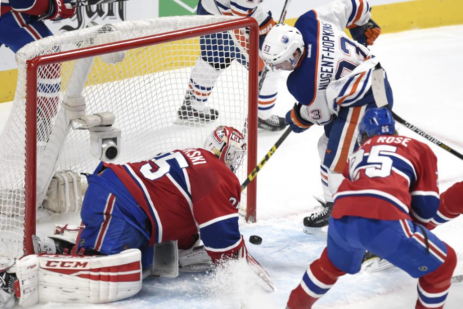 Dustin Tokarski réagit au but de Ryan Nugent-Hopkins en 2e période. (PHOTO BERNARD BRAULT, LA PRESSE)
