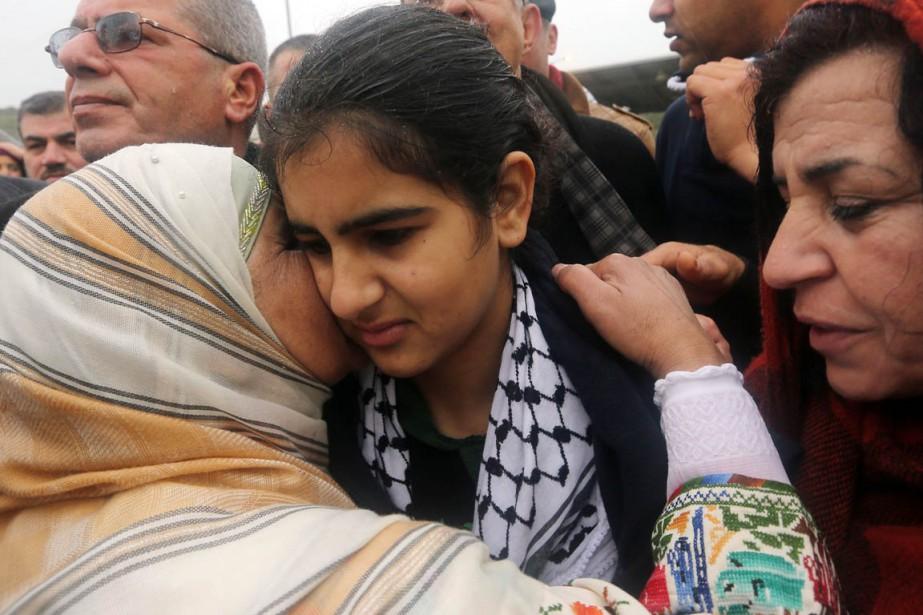 Malak al-Khatib a été relâchée à Tulkarem où... (PHOTO JAAFAR ASHTIYEH, AFP)