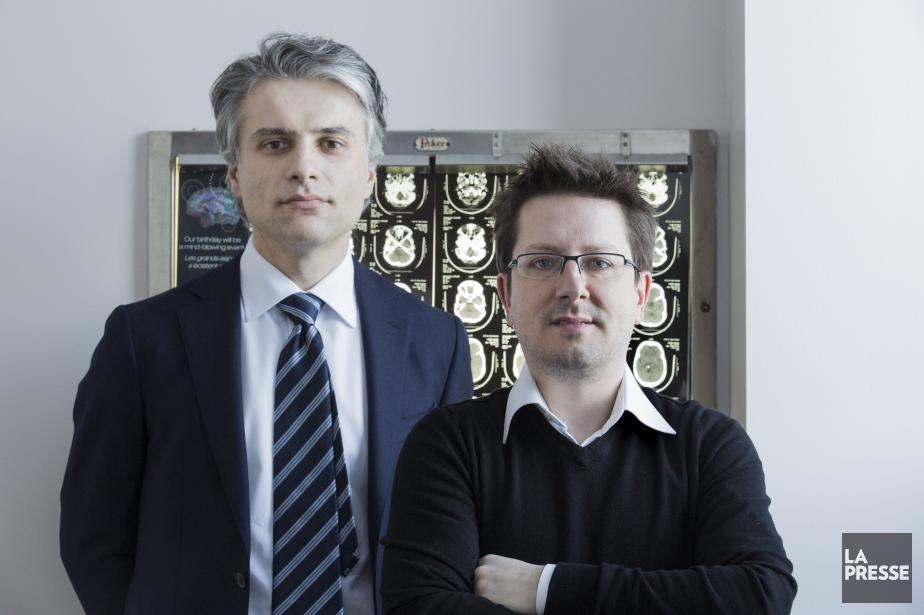Dr Kevin Petrecca, neurochirurgien, et de Frédéric Leblond,... (PHOTO EDOUARD PLANTE-FRÉCHETTE, LA PRESSE)