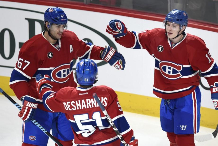 La Canadien célèbre le premier but de la partie. (PHOTO BERNARD BRAULT, LA PRESSE)