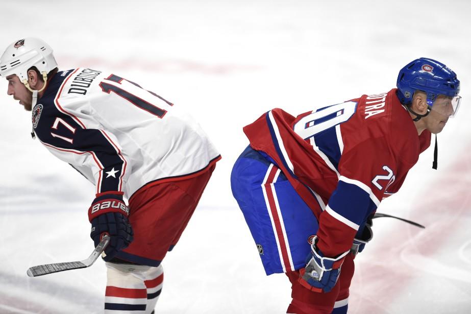 Brandon Dubinsky et l'attaquant du Canadien Manny Malhotra (PHOTO BERNARD BRAULT, LA PRESSE)