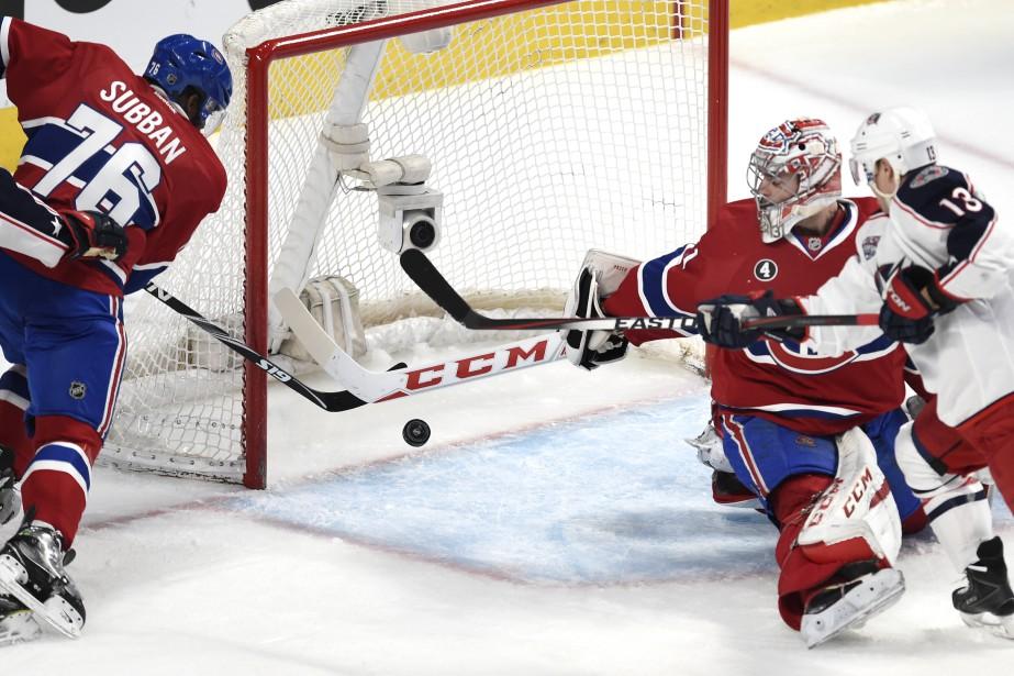 P.K. Subban bloque un tir tout près de la ligne des buts. (PHOTO BERNARD BRAULT, LA PRESSE)