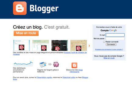 Page d'accueil de la plateforme de blogues Blogger,... (Saisie écran)