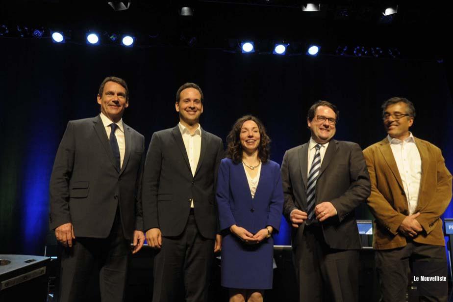 Les cinq candidats à la chefferie du Parti... (Photo: Sylvain Mayer, Le Nouvelliste)
