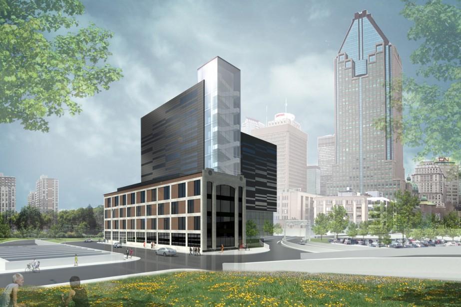 Le nouvel immeuble sera situé rue de l'Inspecteur,... (PHOTO DE LA MAQUETTE FOURNIE PAR LE FONDS DE SOLIDARITÉ FTQ)
