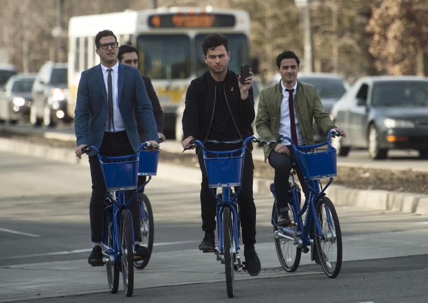 The Arkells sont arrivés en vélo à la soirée. (La Presse Canadienne)