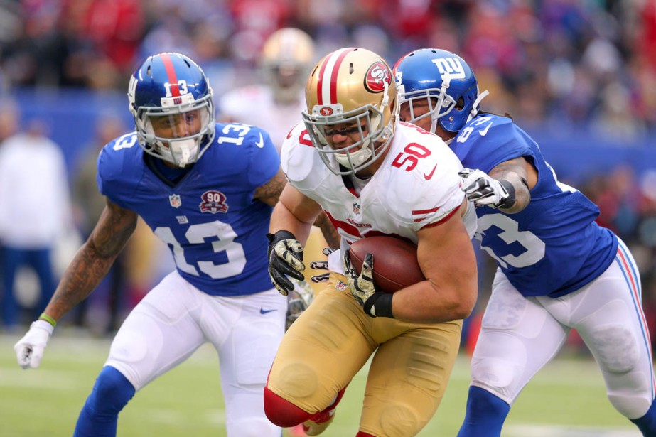 Chris Borland (au centre).... (Photo Brad Penner, archives USA TODAY Sports)