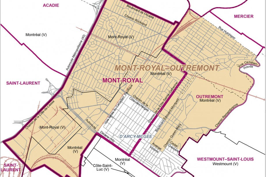 En jaune, la nouvelle circonscription de Mont-Royal-Outremont....