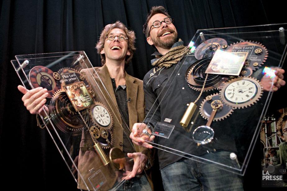 Fred Pellerin et Jeannot Bournival ont reçu hier... (Photo: Patrick Sanfaçon, La Presse)