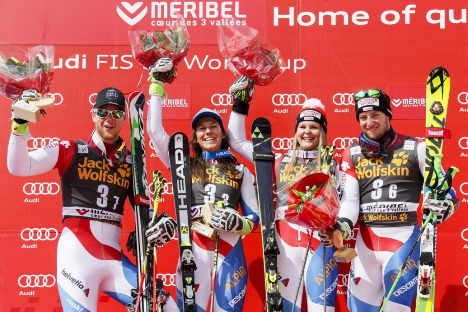 Les SuissesReto Schmidiger, Wendy Holdener, Charlotte Chable et... (PHOTO ROBERT PRATTA, REUTERS)