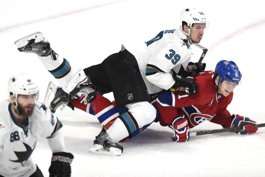 Logan Couture neutralise Lars Eller. (PHOTO BERNARD BRAULT, LA PRESSE)