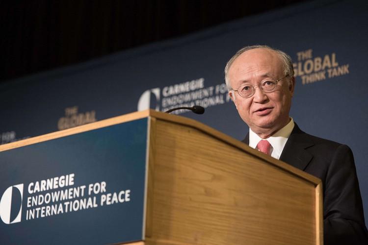 Le directeur général de l'AIEA, le Japonais Yukiya... (Photo: AFP)