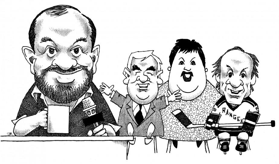 Richard Proulx et ses invités (Robert Labine, Ginette Reno, et Guy Lafleur) tel que vu par Bado en 1989. ()