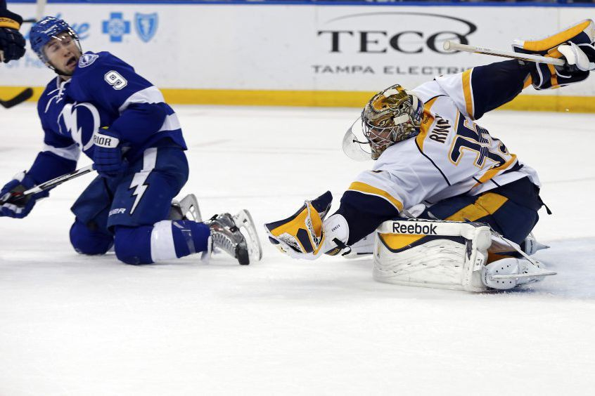 Pekka Rinne a repoussé 28 tirs pour enregistrer sa 40e victoire de... (Photo AP)