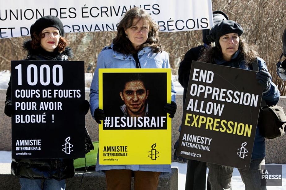 Une manifestation d'appui pour Raif Badawi a été... (Photo: Patrick Sanfaçon, La Presse)