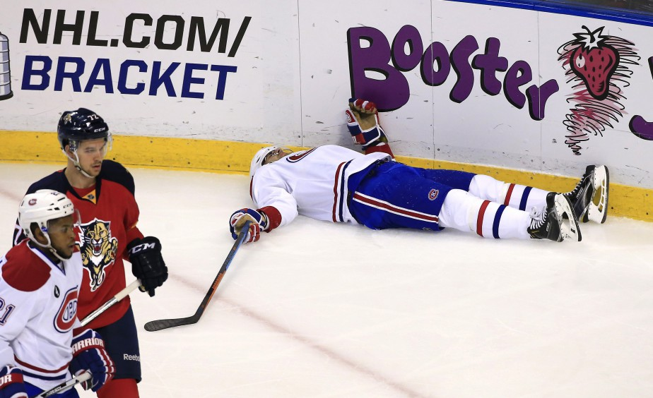 Max Pacioretty a quitté le match en première période à la suite d'un violent choc contre la bande. (Photo Robert Mayer, USA TODAY Sports)