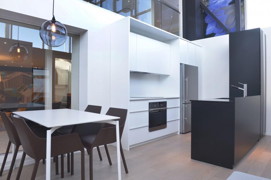 Les condos sont composés de planchers en bois d'ingénierie et d'un comptoir en quartz à la cuisine. Dans ce projet d'habitation mixte, les appartements auront des finis différents. (Photo Le Soleil, Jean-Marie Villeneuve)