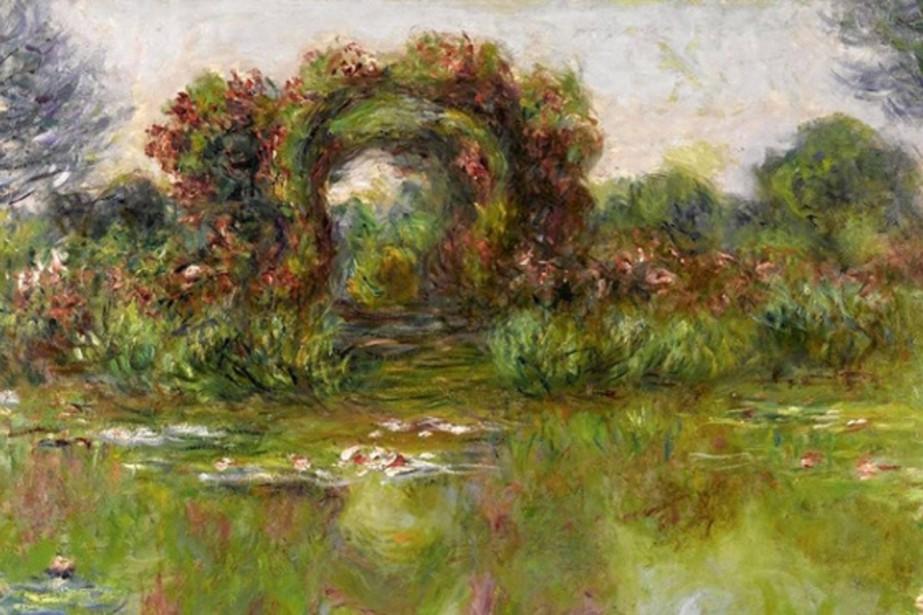 L'oeuvre Bassin aux Nymphéas, les rosiers est estimée... (Photo fournie par Sotheby's)