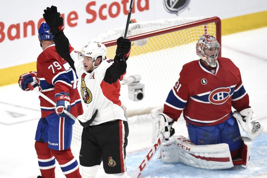 Kyle Turris a déjoué Carey Price en 2e période durant la même pénalité majeure infligée au Canadien. (Bernard Brault, La Presse)