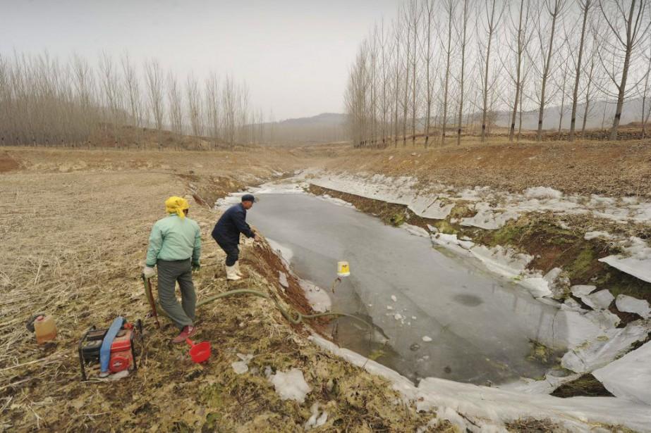 Des fermiers chinois se préparent à pomper de... (PHOTO PETER PARKS, ARCHIVES AFP)