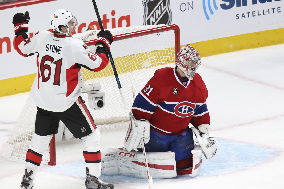 Mark Stone célèbre devant Carey Price. (Patrick Woodbury, LeDroit)