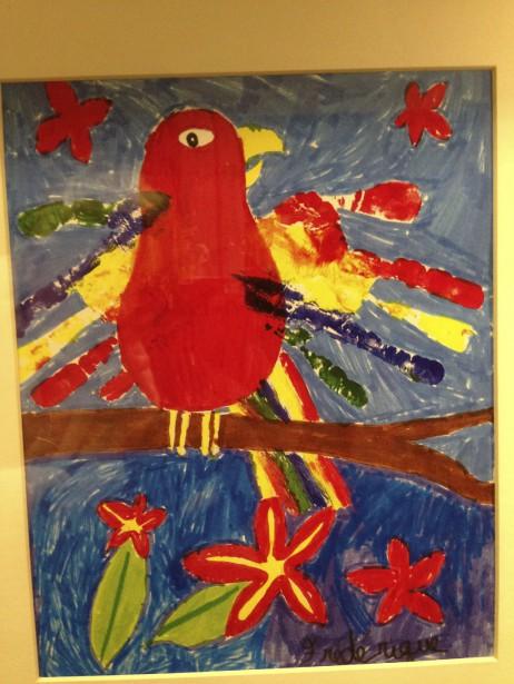 Voilà mon bricolage préféré. Ma petite poulette Frédérique me l'a fait quand elle avait sept ans et depuis, il est dans son cadre, bien en vue sur le mur familial. Il me fait chaud au coeur chaque fois que je le vois et je me souviens de l'étincelle de fierté qu'elle avait dans les yeux en terminant son travail. -<strong><i>Marie Rodrigue</i></strong> ()