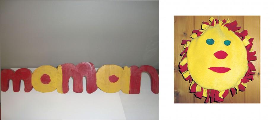 Voilà deux oeuvres d'art qui trônent toujours dans la maison après plusieurs années. Deux de mes garçons à des époques différentes m'ont démontré leur amour et leur talent. Un «maman» en bois fait en cachette dans l'atelier par Félix, qui n'avait pas encore 10 ans. Et un joli soleil réalisé par Michel à l'âge de 9 ans. Ils en ont aujourd'hui 22 et 18. -<strong><i>Nancy</i></strong> ()