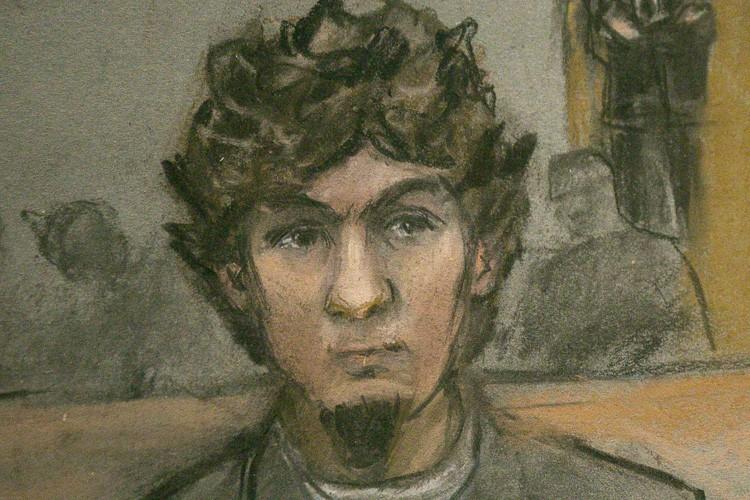 Djokhar Tsarnaev dans uncroquis d'audience publié en avril....
