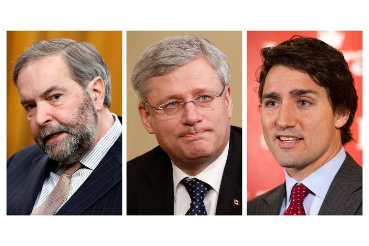 Thomas Mulcair,Stephen Harper et Justin Trudeau.... (Photo: Reuters)