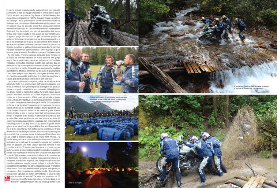 Bertrand Gahel avait parlé dans <em>La Presse</em> de son expérience au GS Challenge, dans les Rocheuses canadiennes. il revient en détail sur son aventure en conclusion du <em>Guide de la moto 2015</em>. (Image fournie par les Guides motocyclistes)