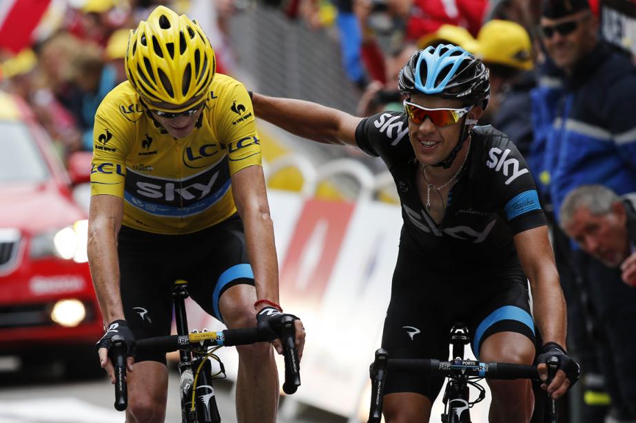 Chris Froome et Richie Porte au Tour de... (Photo Jeff Pachoud, archives AFP)
