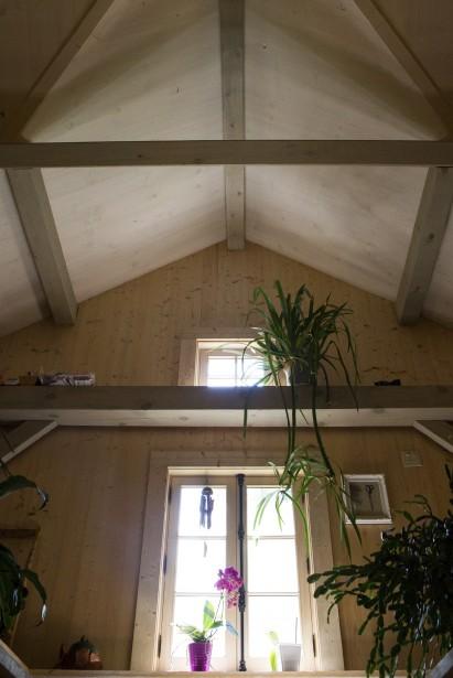La charpente de pin rouge a une structure en étoile, typique du style hollandais. (Le Soleil, Caroline Grégoire)