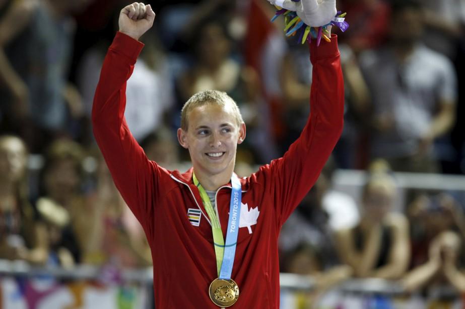 L'athlète canadien Keegan Soehn savoure la victoire.... (Photo Reuters)