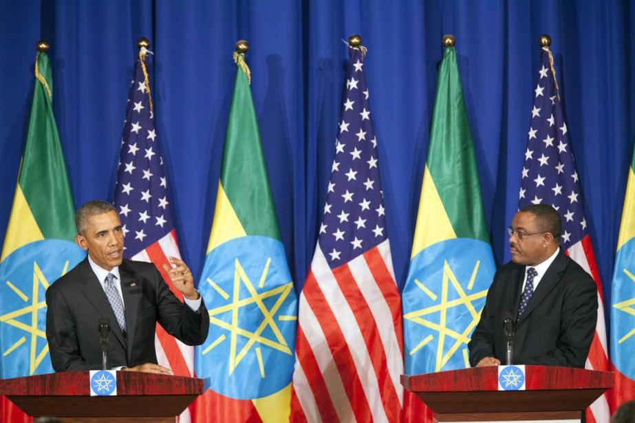 Un portrait d'Obama dans les rues d'Addis Abeba,... (PHOTO CARL DE SOUZA, AFP)