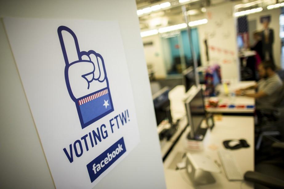 Une affiche incitant les gens à voter au... (Photo Zach Gibson, The New York Times)