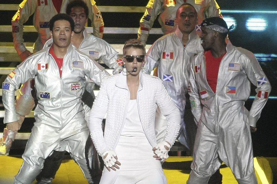 Justin Bieber lors d'un spectacle à Buenos Aires....