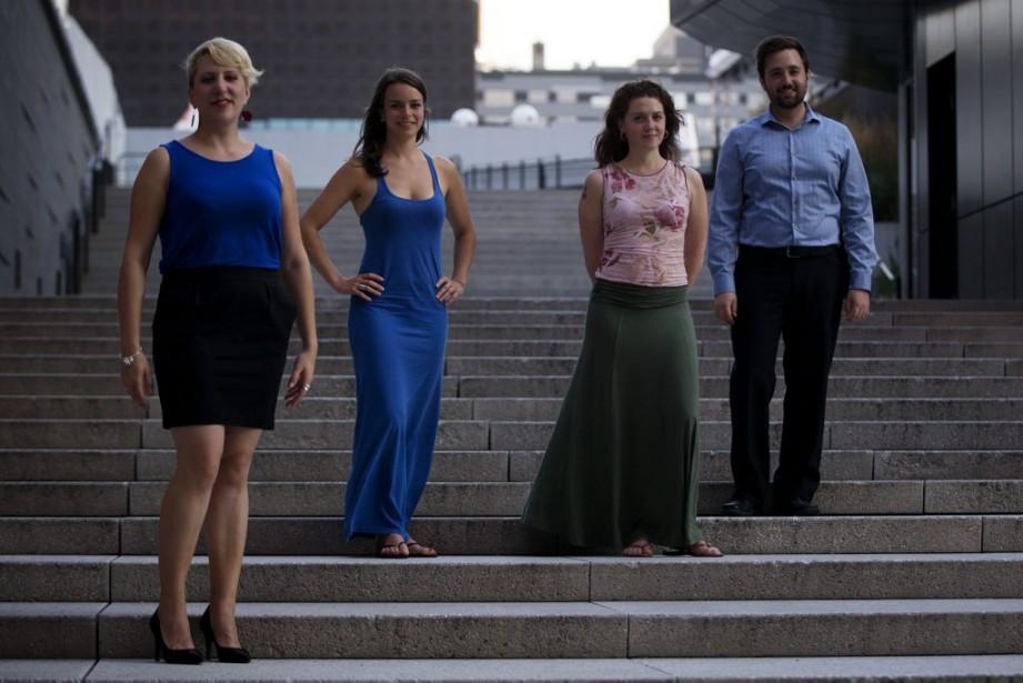 Quatre jeunes musiciens qui vont participer à la...