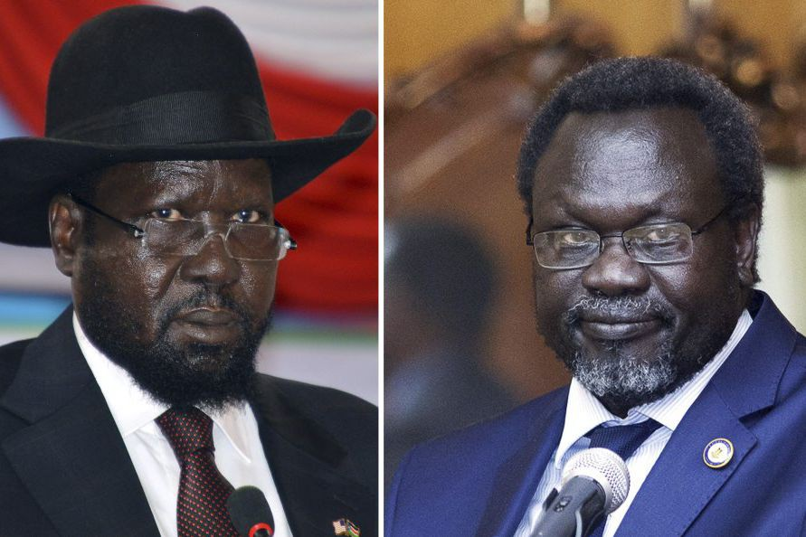 Le président Salva Kiir etl'ancien vice-président et chef... (PHOTOS ARCHIVES AGENCE FRANCE-PRESSE)