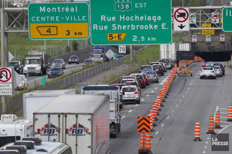 Une importante congestion avait cours à l'entrée nord... (PHOTO IVANOH DEMERS, LA PRESSE)